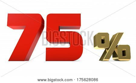 75% percent red and gold text isolated on white 3d render