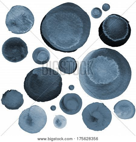 Set of colorful watercolor hand painted circle isolated on white. Watercolor Illustration for artistic design. Round stains blobs of grey