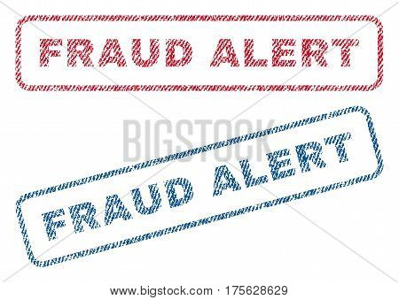 Fraud Alert text textile seal stamp watermarks. Blue, red fabric vectorized texture. Vector tag inside rounded rectangular shape. Rubber sticker with fiber textile structure.
