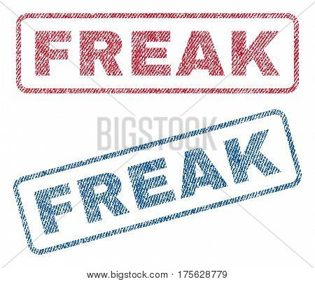 Freak text textile seal stamp watermarks. Blue, red fabric vectorized texture. Vector tag inside rounded rectangular shape. Rubber emblem with fiber textile structure.