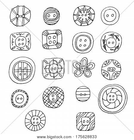 Lovely spring buttons hand drawn vector set