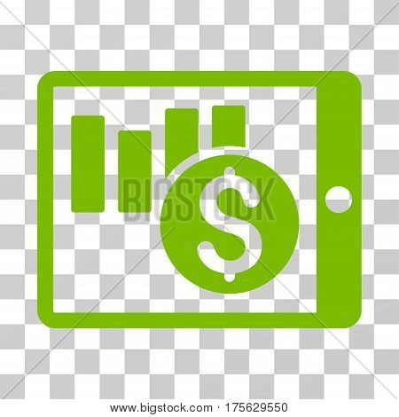 Sales Chart On PDA icon. Vector illustration style is flat iconic symbol, eco green color, transparent background. Designed for web and software interfaces.