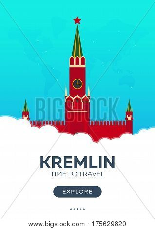 Russia. Moscow. Kremlin. Time To Travel. Travel Poster. Vector Flat Illustration.