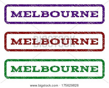 Melbourne watermark stamp. Text caption inside rounded rectangle with grunge design style. Vector variants are indigo blue, red, green ink colors. Rubber seal stamp with dirty texture.