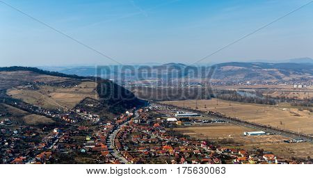 Aerial panoramic view of the Deva city from the citadel