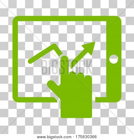 Tap Trend On PDA icon. Vector illustration style is flat iconic symbol, eco green color, transparent background. Designed for web and software interfaces.
