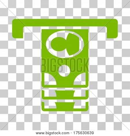Withdraw Banknotes icon. Vector illustration style is flat iconic symbol, eco green color, transparent background. Designed for web and software interfaces.