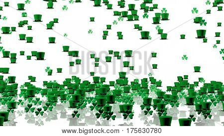 3D illustration of Lots of Tiny Green Irish Hats and Clovers with a White Background