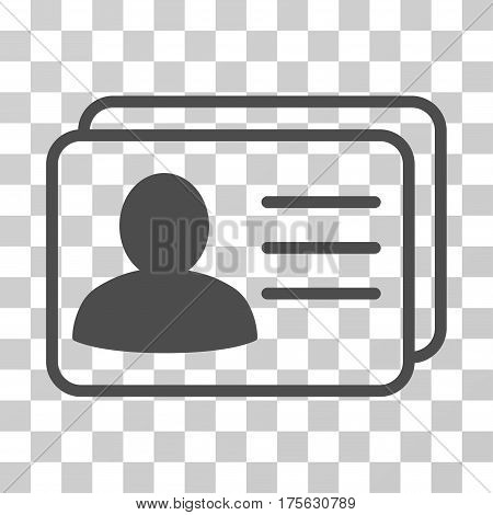 Account Cards icon. Vector illustration style is flat iconic symbol, gray color, transparent background. Designed for web and software interfaces.