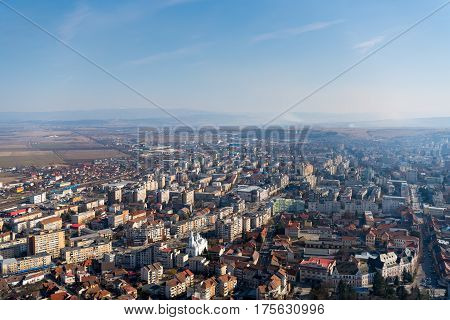 Beautiful Aerial view of the Deva city from the citadel