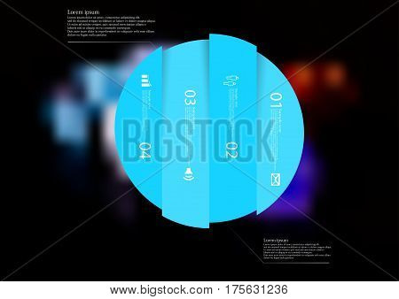 Illustration infographic template with motif of circle vertically divided to four blue standalone sections. Blurred photo with colorful game dices motif on black board is used as background.