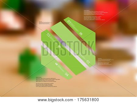 Illustration infographic template with motif of hexagon askew divided to four green standalone sections. Blurred photo with financial motif with coins and money is used as background.