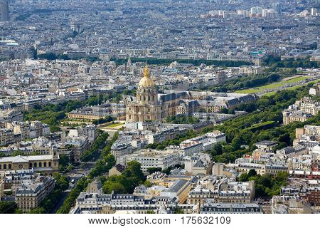 Aerial Paris skyline and Invalides golden dome in France