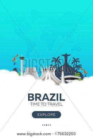 Brazil. Rio De Janeiro. Time To Travel. Travel Poster. Vector Flat Illustration.