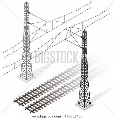 Vector railway in isometric 3d perspective isolated on white background with railroad train power lines. Pylons with trolley. Industrial transportation building. Metallic track architecture with frets
