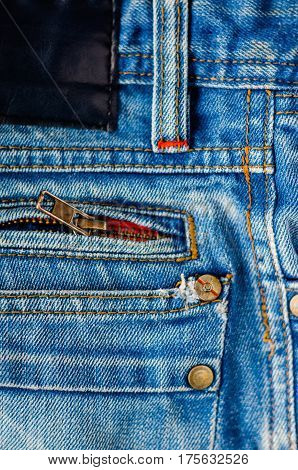 Detail of jeans trousers close-up. Pockets pants belt loops thick stitches. Elements of denim pants background