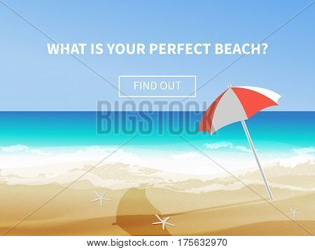 Summer background vector illustration of the day at the beach with sea waves ans sun shining seaside view with copyspace. Travel advertisment banner with umbrella