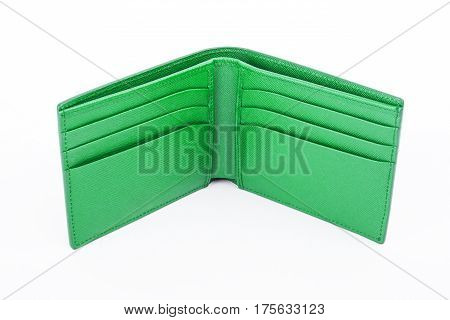 Open Green Leather Wallet Isolated On White Background
