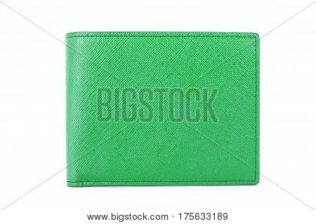 Green Leather Wallet Isolated On White Background