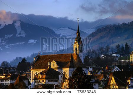 Beautiful Sunset Over The Village Schwyz