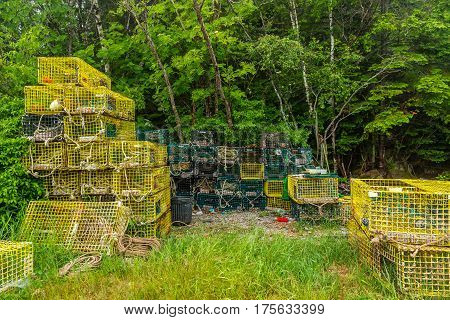 Lobster Traps await their next trip under the sea on the Schoodic Peninsula.