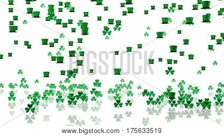 3D illustration of Many Tiny Green Irish Hats and Clovers with a Reflecting Floor and a White Background