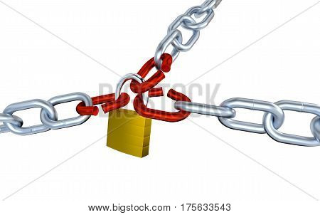 3D illustration of Three Big Metallic Chains with Three Stressed Link Locked with a Padlock with a white background