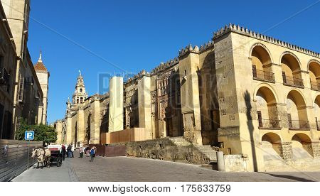 Outside the mosque of Cordoba facade, exterior view of the Mosque, Andalucia, Spain