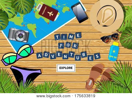 Vector travel banner with a phrase time for adventures made out of letters in word puzzling game. Different objects and map placed on light wooden textured background. Flat lay composition