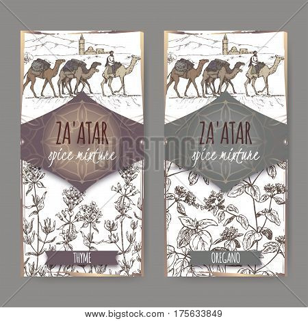 Two Zaatar spice mixture labels with camel train and desert landscape, thyme and oregano sketch. Culinary herbs collection. Great for cooking, medical, gardening design.