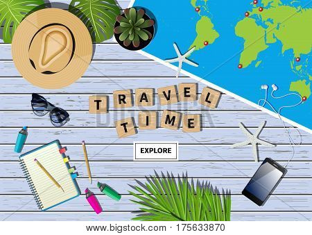 Vector travel banner with a phrase travel time made out of letters in word puzzling game. Different objects and map placed on blue wooden textured background. Flat lay composition