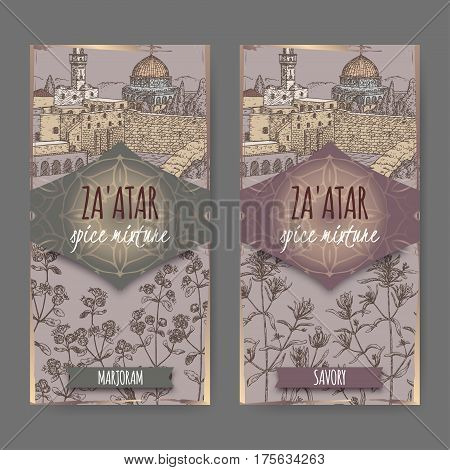 Two Zaatar spice mixture labels with Jerusalem town landscape, marjoram and savory sketch. Culinary herbs collection. Great for cooking, medical, gardening design.