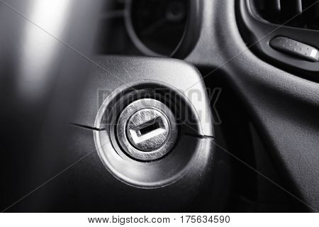 Closeup view of car ignition lock
