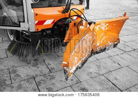 Part of municipal car for cleaning roads and sidewalks, closeup