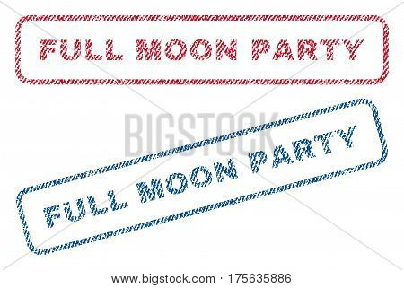 Full Moon Party text textile seal stamp watermarks. Blue, red fabric vectorized texture. Vector tag inside rounded rectangular shape. Rubber emblem with fiber textile structure.