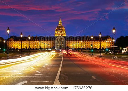 Les Invalides sunset facade in Paris at France
