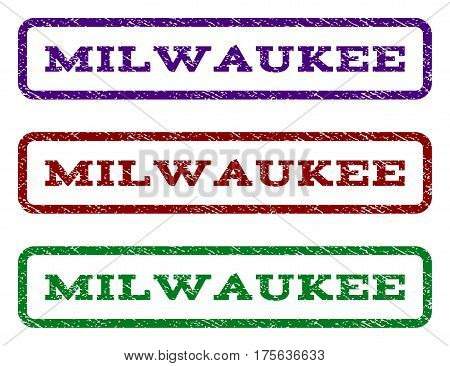 Milwaukee watermark stamp. Text caption inside rounded rectangle with grunge design style. Vector variants are indigo blue, red, green ink colors. Rubber seal stamp with dirty texture.
