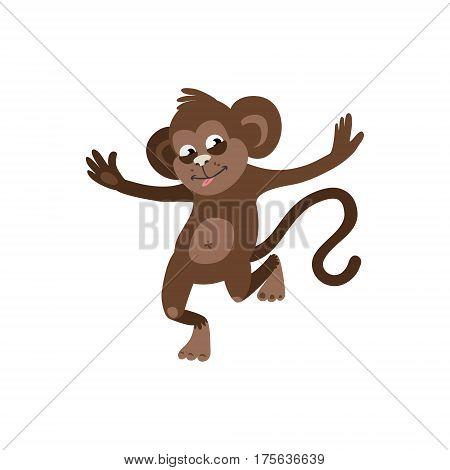 Cheerful monkey on white background. vector illustration