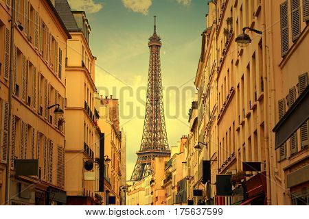 Eiffel Tower in Paris from Invalides at France