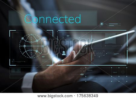 Businessman connected with global communications network