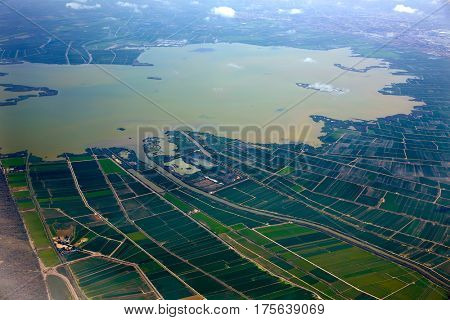 Abufera lake in Valencia aerial west side view in Spain