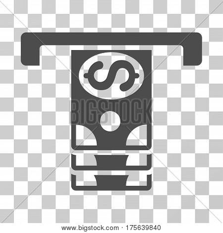 Banknotes Withdraw icon. Vector illustration style is flat iconic symbol gray color transparent background. Designed for web and software interfaces.