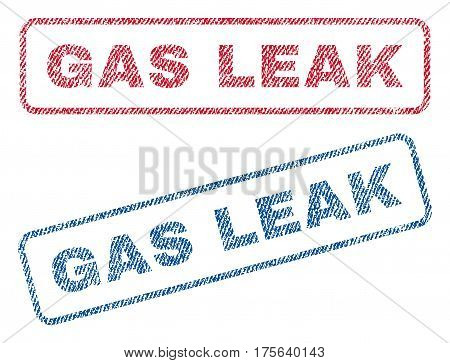 Gas Leak text textile seal stamp watermarks. Blue, red fabric vectorized texture. Vector caption inside rounded rectangular banner. Rubber sign with fiber textile structure.