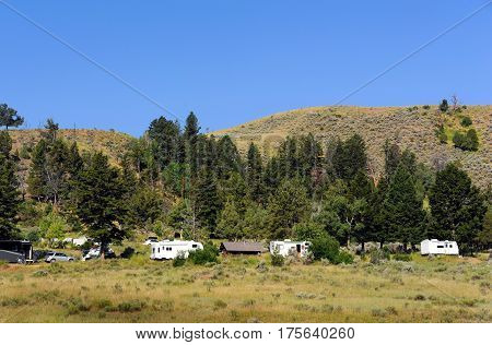 Campers cluster together within a camp ground in Yellowstone National Park. Fir trees give shade and mountain rises behind them.