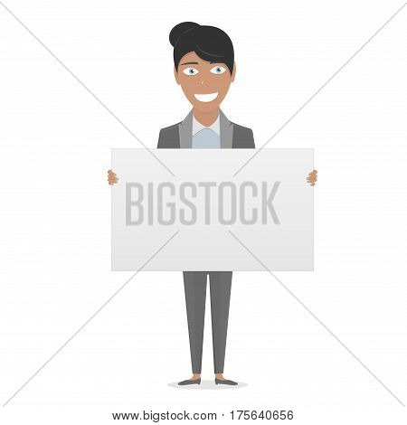 Business woman in the suit holding blank sign. White Board in his hands for you text.