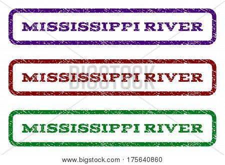 Mississippi River watermark stamp. Text caption inside rounded rectangle with grunge design style. Vector variants are indigo blue, red, green ink colors. Rubber seal stamp with unclean texture.