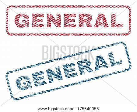 General text textile seal stamp watermarks. Blue, red fabric vectorized texture. Vector caption inside rounded rectangular banner. Rubber sticker with fiber textile structure.