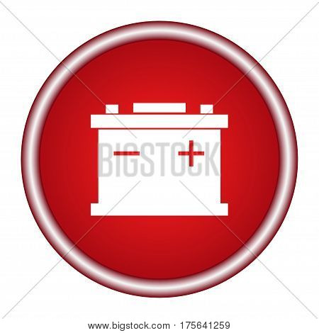 Car Battery icon isolated on white background. Accumulator battery energy power and electricity accumulator battery. Battery accumulator car auto parts electrical supply power in flat style.