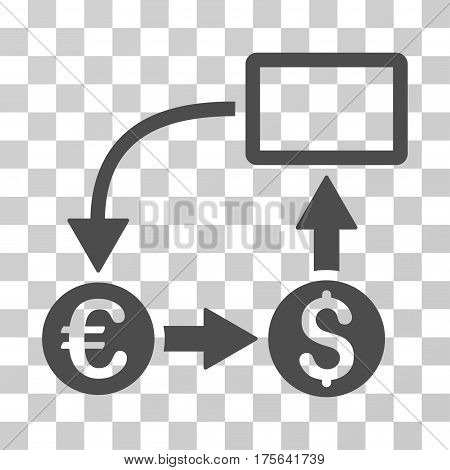 Cashflow Euro Exchange icon. Vector illustration style is flat iconic symbol gray color transparent background. Designed for web and software interfaces.