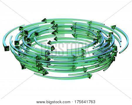 Green transparent arrows wreath 3D render illustration isolated on white background